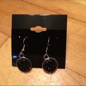 Handmade Jewelry - Black faux druzy earrings