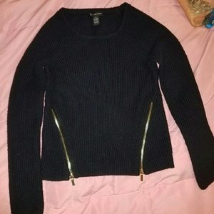 INC International Concepts Tops - Black knit sweater with gold zippers