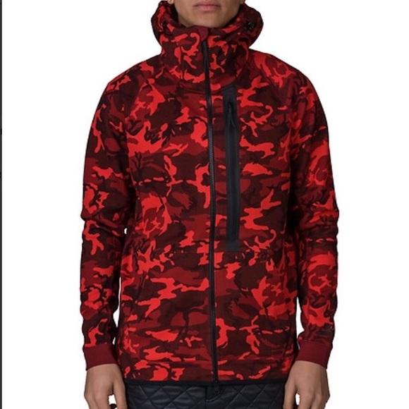 7f857db890ee Nike Red Tech Fleece Full Zip Camo Hoodie Sweater