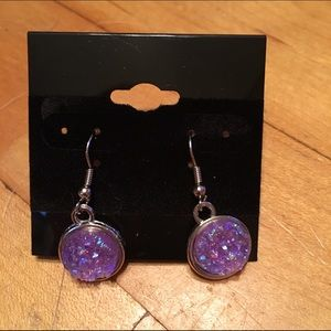Handmade Jewelry - Purple faux druzy earrings