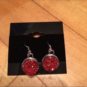 Handmade Jewelry - Red faux druzy earrings