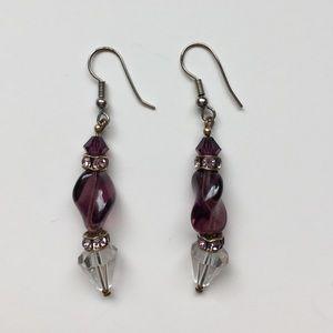 Jewelry - Violet/Clear Dangle Earrings