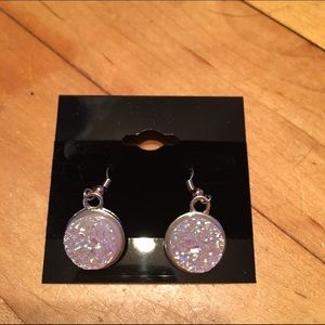Handmade Jewelry - White faux druzy earrings