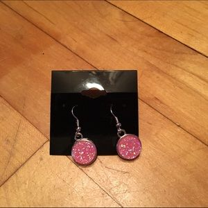 Handmade Jewelry - Pink faux druzy earrings