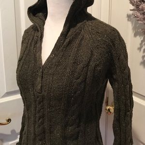 Forest green ramie cable knit hooded sweater