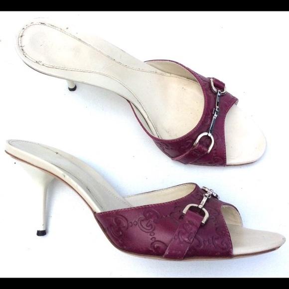 6afaae0a39f Gucci Shoes - GUCCI maroon GG logo slide heels 38 horsebit