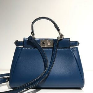 FENDI Handbags - Fendi Micro Peekaboo Blue Leather NWT