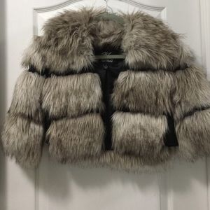 EUC Blanc Noir cropped Faux Fur Jacket