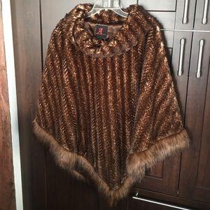 Adrienne Landau Jackets & Blazers - Faux mink poncho. NWOT