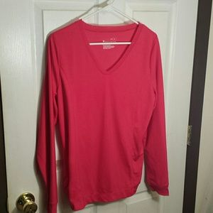 Pink long sleeve v-neck Tek Gear shirt