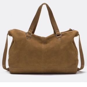 🆕♥️ZARA handles suede messenger bag leather❤️❤️