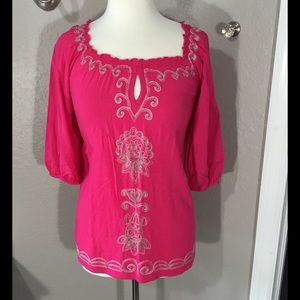 NY Collection Tops - NY Collection Pink Boho Top Size M