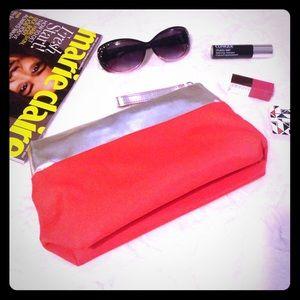 Clinique Handbags - CLINIQUE Orange and Silver Makeup Bag