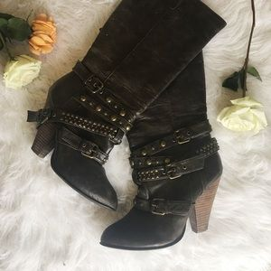 Shoes - Brown Studded Buckle Midi Boots