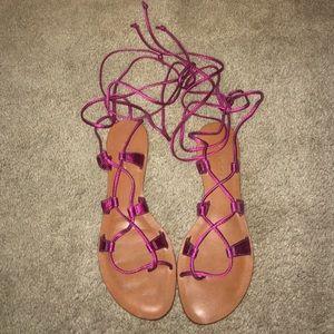 de83d33a1af Aldo metallic pink lace up flat sandals! Size 38