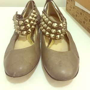Shoes - BE@D Studded Leather Ballet Flats