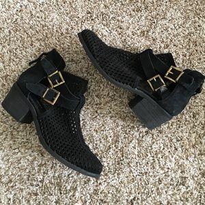 Shoemint Shoes - Black Cut Out Suede Booties
