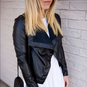 BB Dakota vegan leather black drape front jacket
