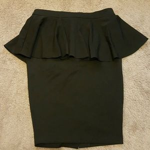 Asos Blk Wiggle Peplum Pencil Skirt sz 12