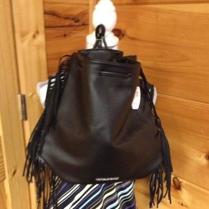 Victoria's Secret Bags - Victoria's Secret black fringe backpack new