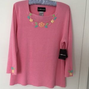 Sag Harbor Sweaters - Women's Pink Sweater w/embroidery - XL NWT