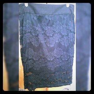 Maurices Black Lace Skirt