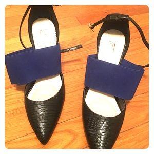 Black and blue heels