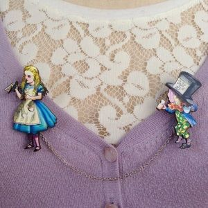 Alice in Wonderland sweater guard // brooch