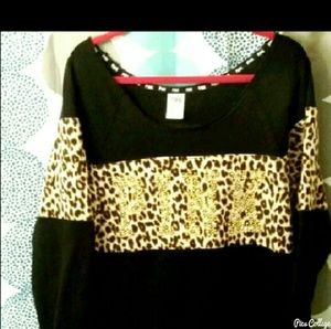 PINK Victoria's Secret Sweaters - Victoria's  Secret Bling Cheetah Crew Neck Sweater