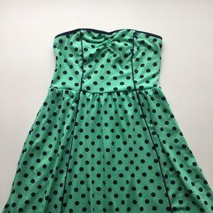 Xhilaration Dresses & Skirts - Mint and Navy Polka Dot Dress