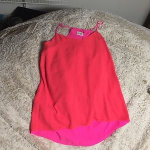 Express Tops - Neon pink/ coral reversible blouse tank -new