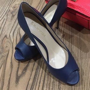 Navy peep toe heels