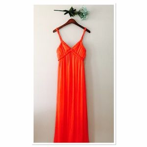 F21 Maxi Coral Chiffon Dress