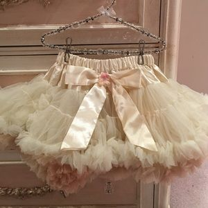 PLH Bows & Laces Other - Girls cream with brown underlay pettiskirt