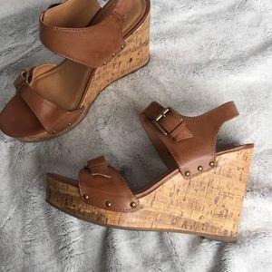 Brown Slingback Buckle Wedge Sandals