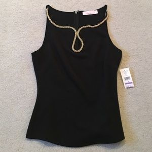 Black tank with gold detail