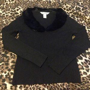 Voodoo Vixen Sweaters - REAL Rabbit Fur Collared Sweater