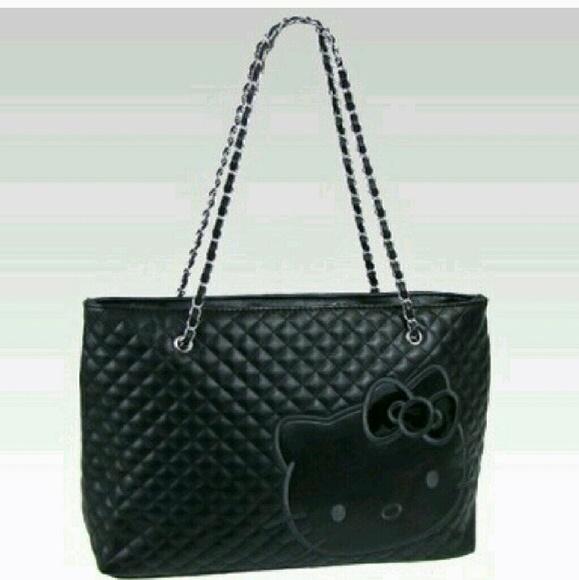 5fda7a83bcbc Black hello kitty tote bag