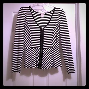 Tops - Black and White Striped Peplum Top