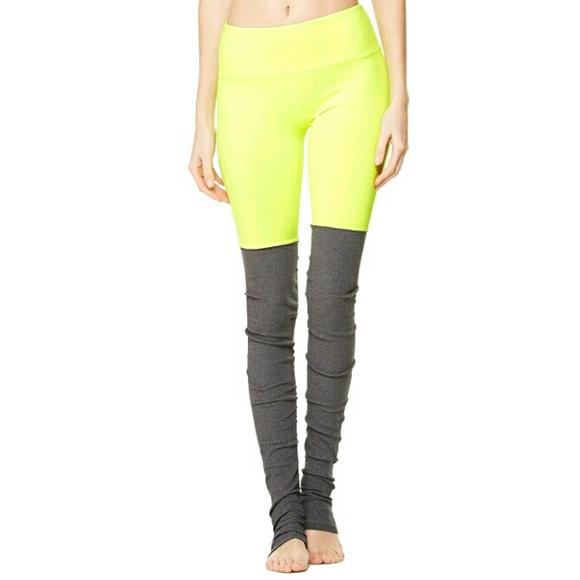 d734a8a9ef1cb ALO Yoga Pants | Goddess Legging Neon Yellow Gray M | Poshmark