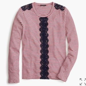 Long sleeve striped lace shirt NWT