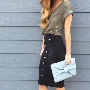 black denim midi skirt