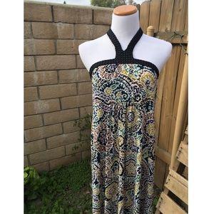 Multicolored Halter Maxi Dress