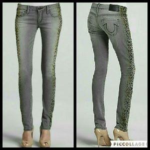 True Religion Jude Leopard Print Skinny Jeans