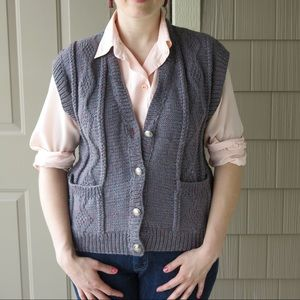 Jackets & Blazers - ♥️♥️♥️Handknit Grey Buffalo Nickel Sweater Vest