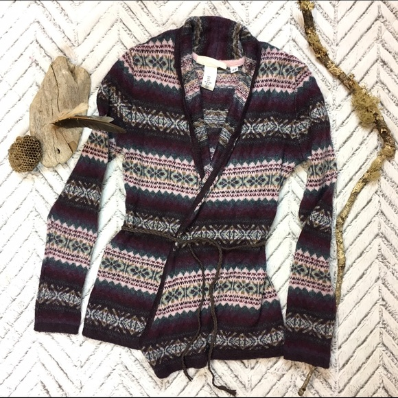 97% off H&M Sweaters - H&M LOGG Fair Isle Tie Front Cardigan ...