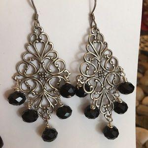 Filigree silver and black jet earrings