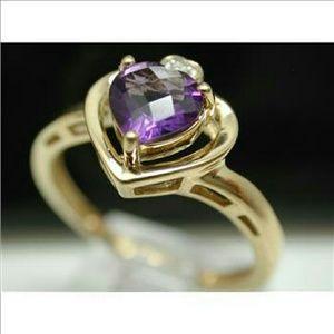 Boutique  Jewelry - 18K Ygp/.925 SS amethyst & diamond ring
