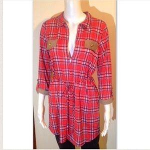 """The Sarah"" 3/4 sleeve midi plaid dress"