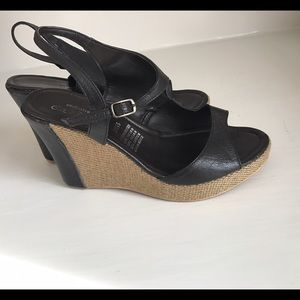 Shoes - Brown leather platform wedge sandals size 7.5